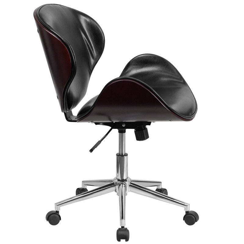 Flash Furniture Mid-Back Mahogany Wood Swivel Conference Chair In Black Leather