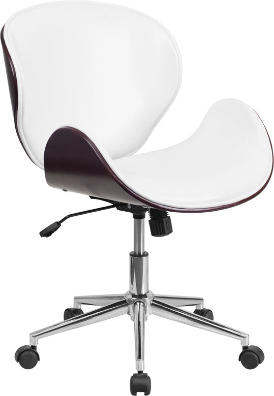 Flash Furniture Mid-Back Mahogany Wood Swivel Conference Chair In White Leather