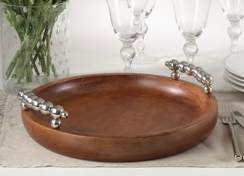 Saro Beaded Design Round Serving Tray
