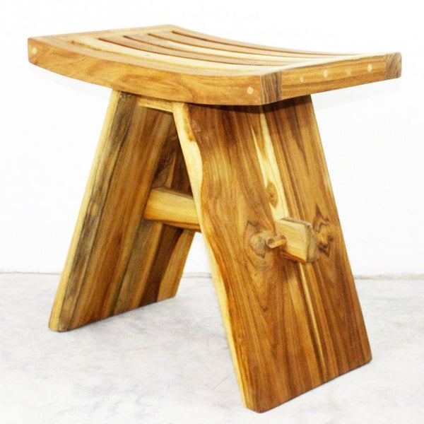 "Haussmann Thai Teak Shower Stool 18"" H - Teak Oil"