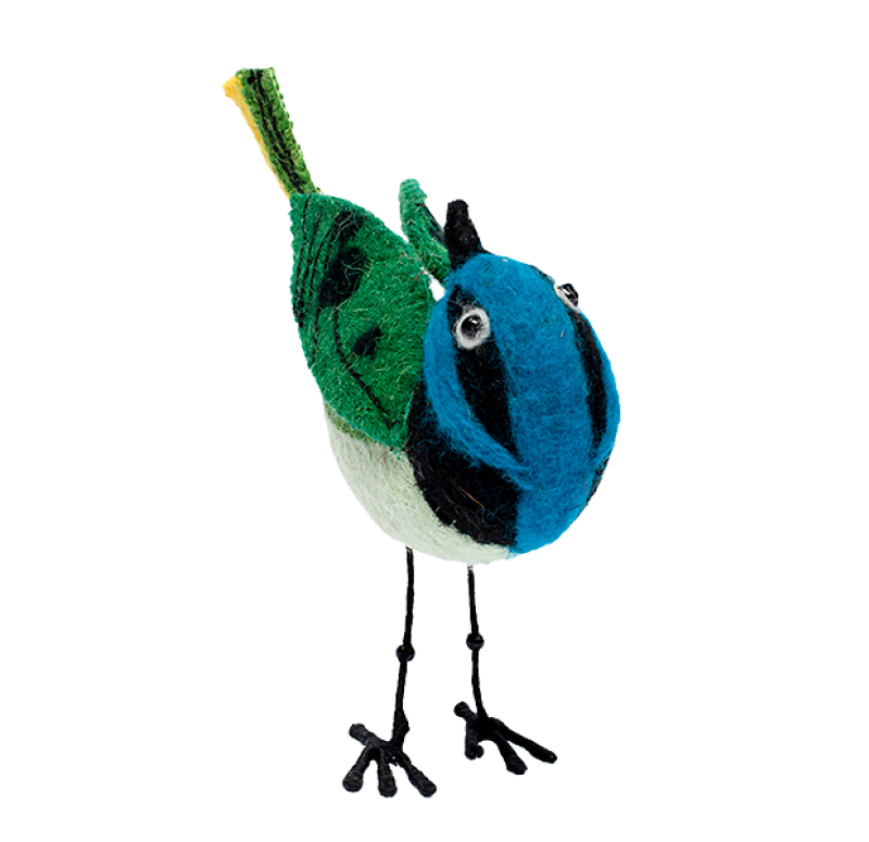 Felt Bird, Green Jay Set of 4 by Gold Leaf Design Group