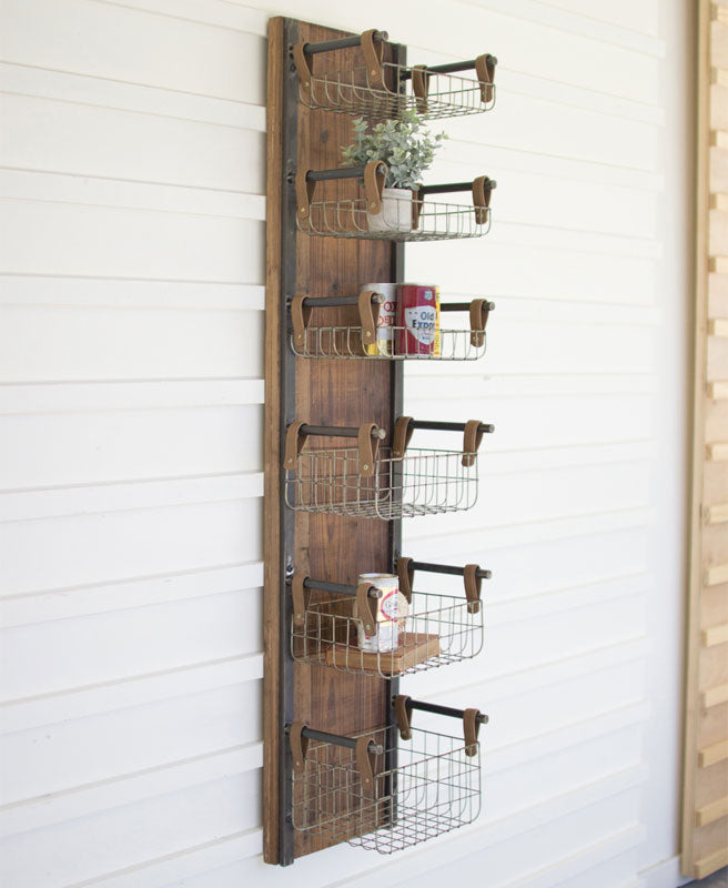 Kalalou Recycled Wood & Metal Wall Rack With Six Wire Storage Baskets