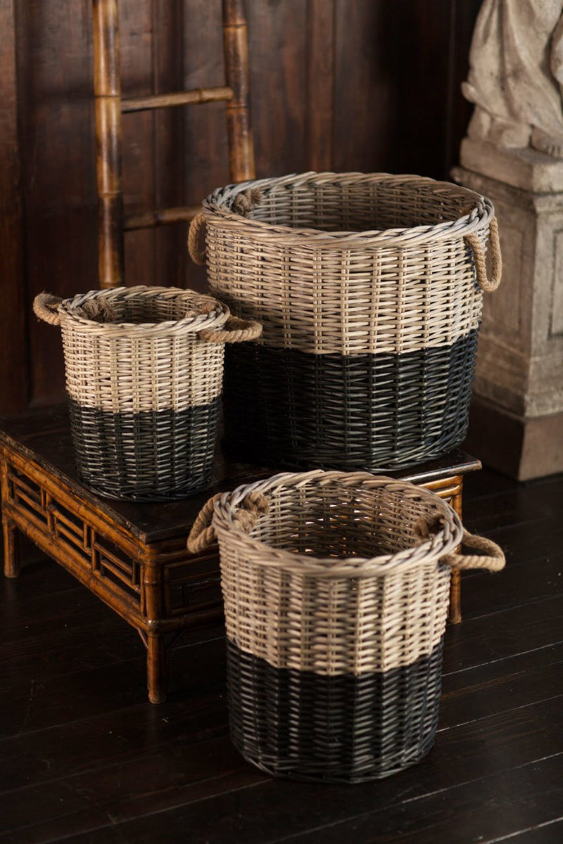 Vagabond Vintage Willow Dipped Black Basket - Set of 3