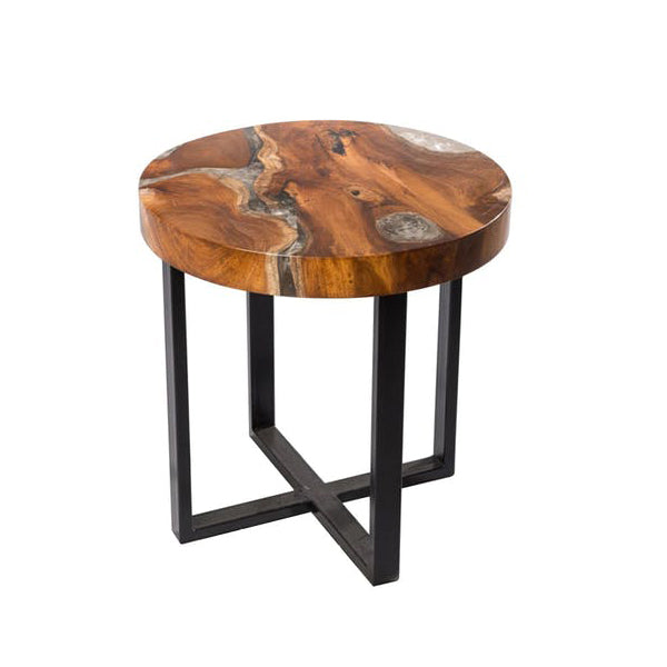 Round Teak & Resin Infused Accent Side Table