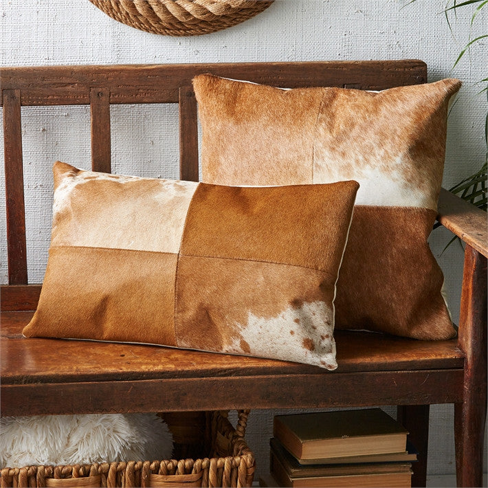 Tozai Home S/2 Brown Leather Pillows A/2 Cowhide