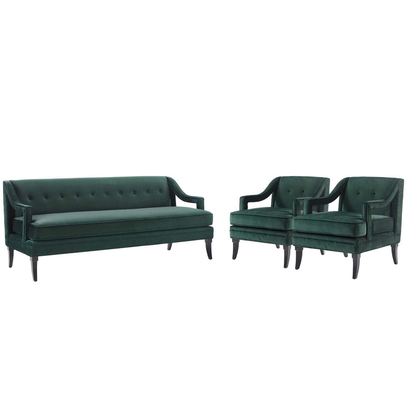 Modway Concur Living Room Set Performance Velvet Set of 3