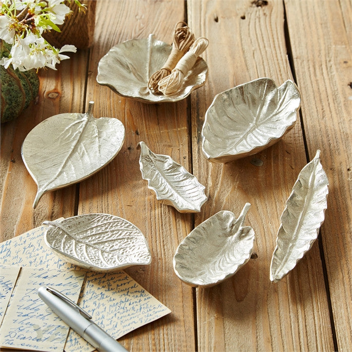 Tozai Home S/7 Small Silver Foliage Dishes