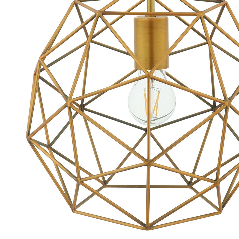 Modway Rarity Geometric Decagon-Shaped Brass Pendant Light