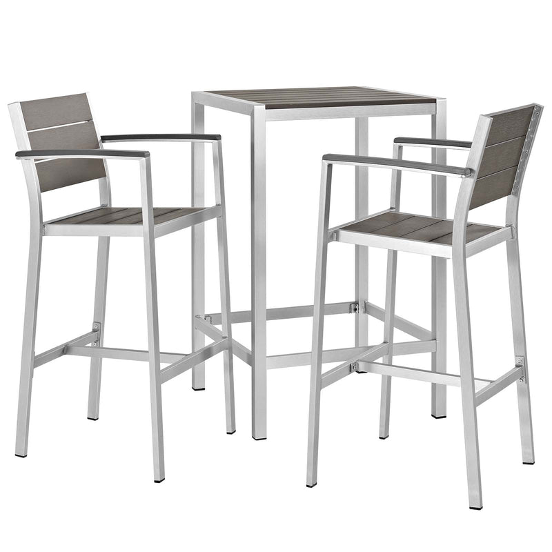 Modway Shore 3 Piece Outdoor Patio Aluminum Outdoor Pub Set in Silver Gray