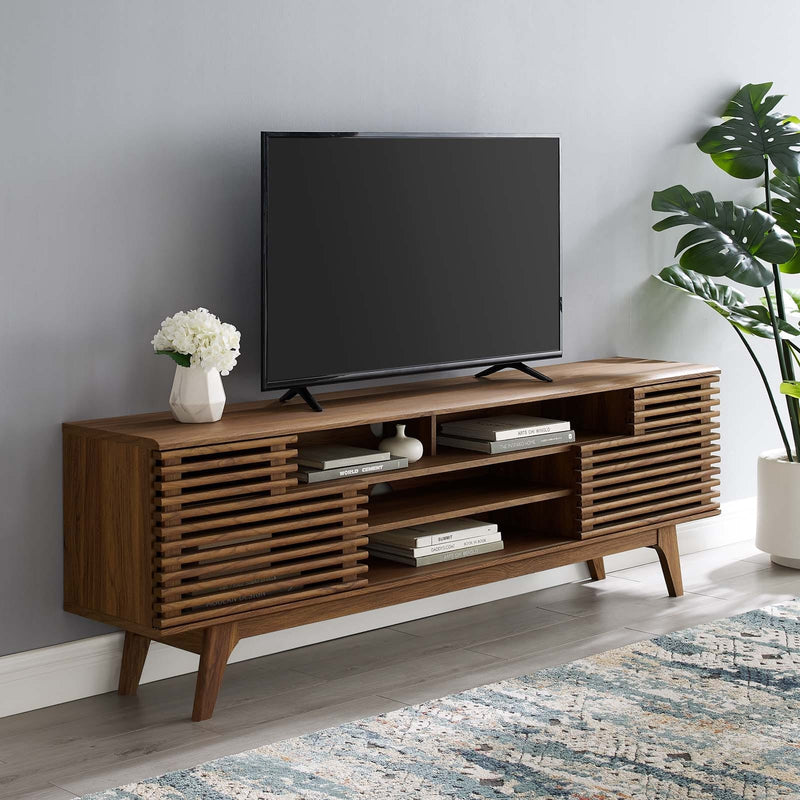 "Modway Render 71"" Media Console TV Stand in Walnut"