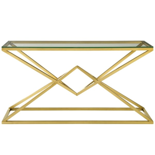 "Modway Point 59"" Brushed Gold Metal Stainless Steel Console Table in Gold"