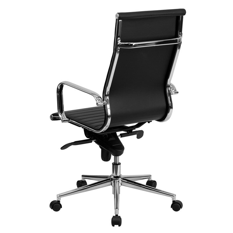 Flash Furniture High Back Black Ribbed Upholstered Leather Executive Swivel Office Chair