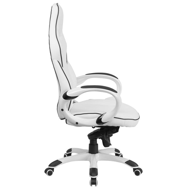 Brilliant Flash Furniture High Back White Vinyl Executive Swivel Office Chair With Black Trim Caraccident5 Cool Chair Designs And Ideas Caraccident5Info