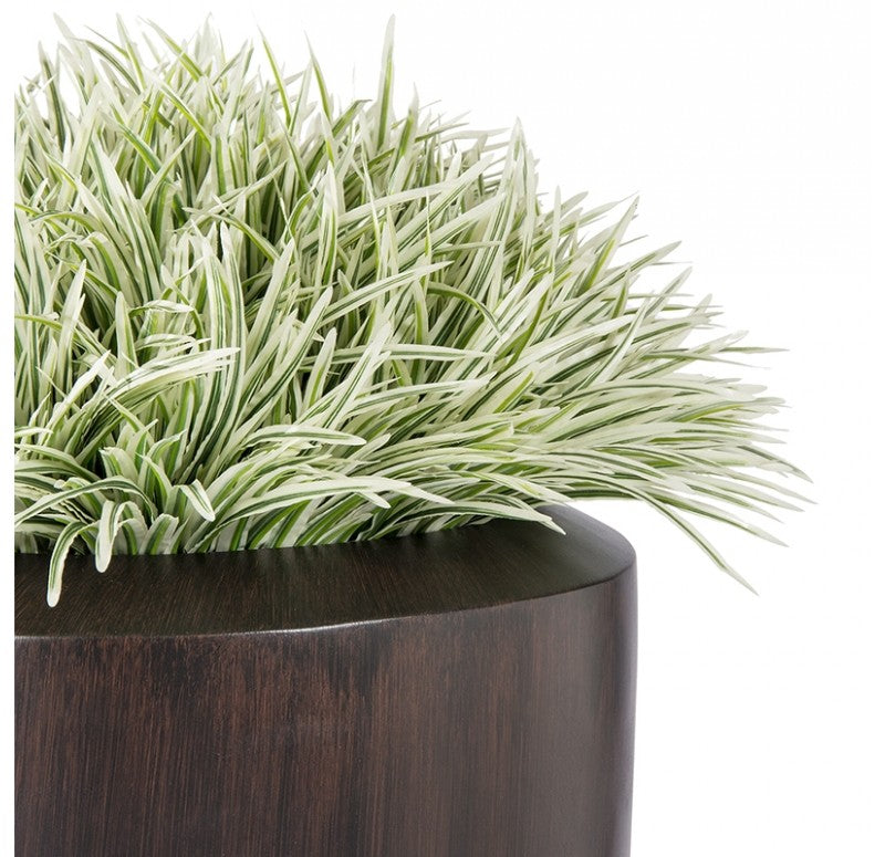 Grass: Zebra Grass in Barrel Planter, Wood Grain, LG by Gold Leaf Design Group