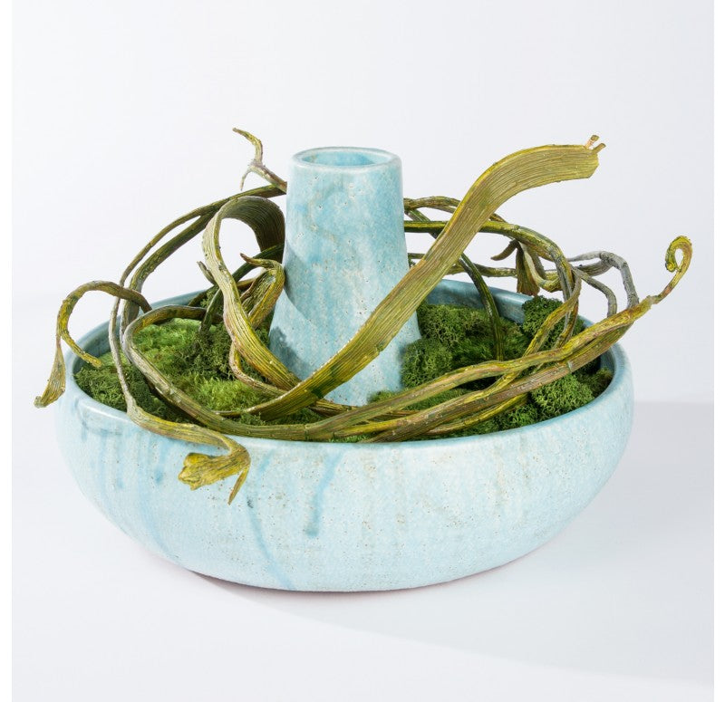 Mood Moss & Fantail Willow in Ceramic Bowl by Gold Leaf Design Group