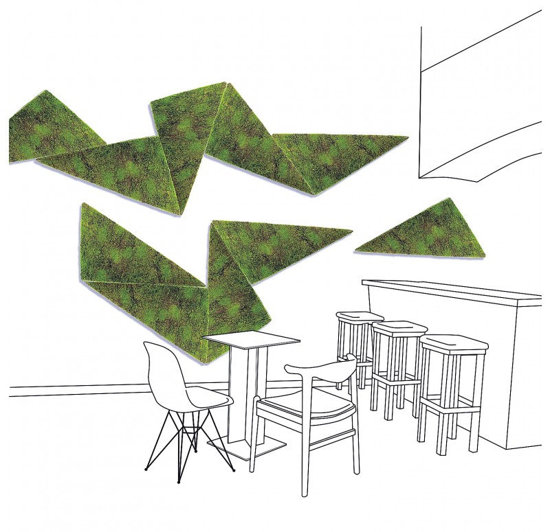Green Wall, 'New Moss', Triangle by Gold Leaf Design Group