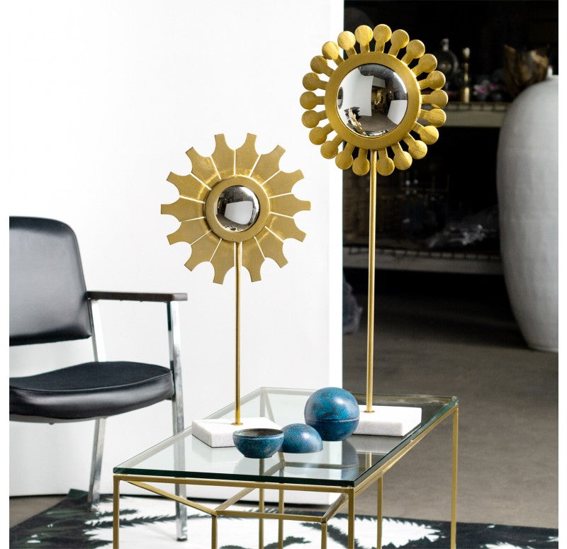 "Flower Mirror Sculpture, 'Daisy', 32""H by Gold Leaf Design Group"
