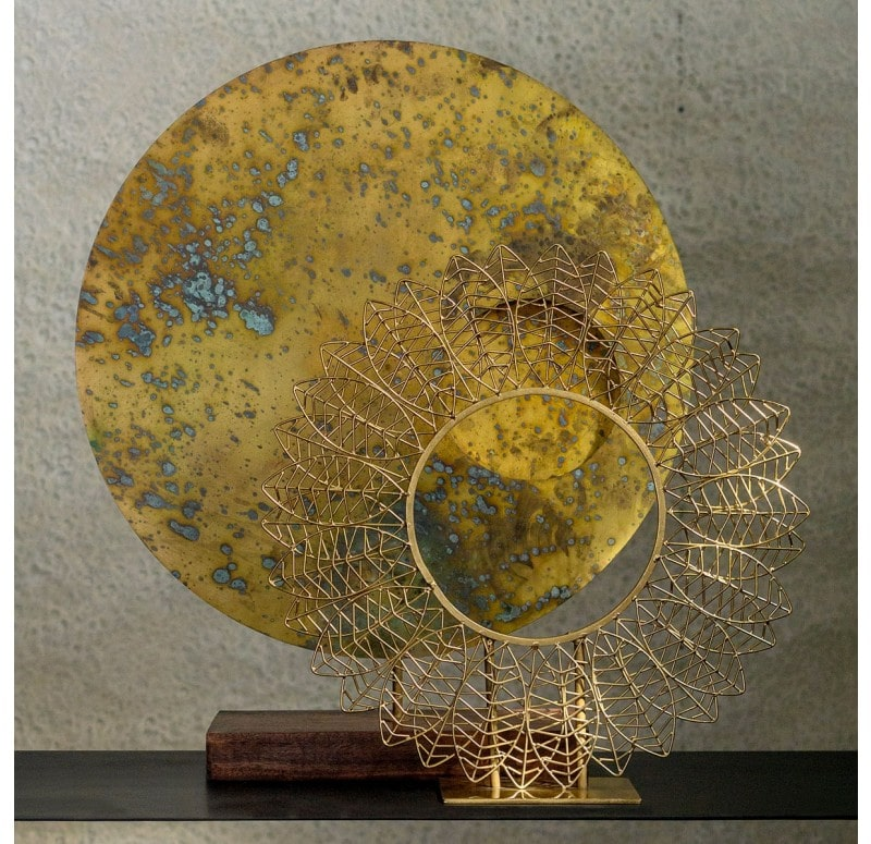 "Wire Leaf 17""H Sculpture Gold Leaf Design Group"