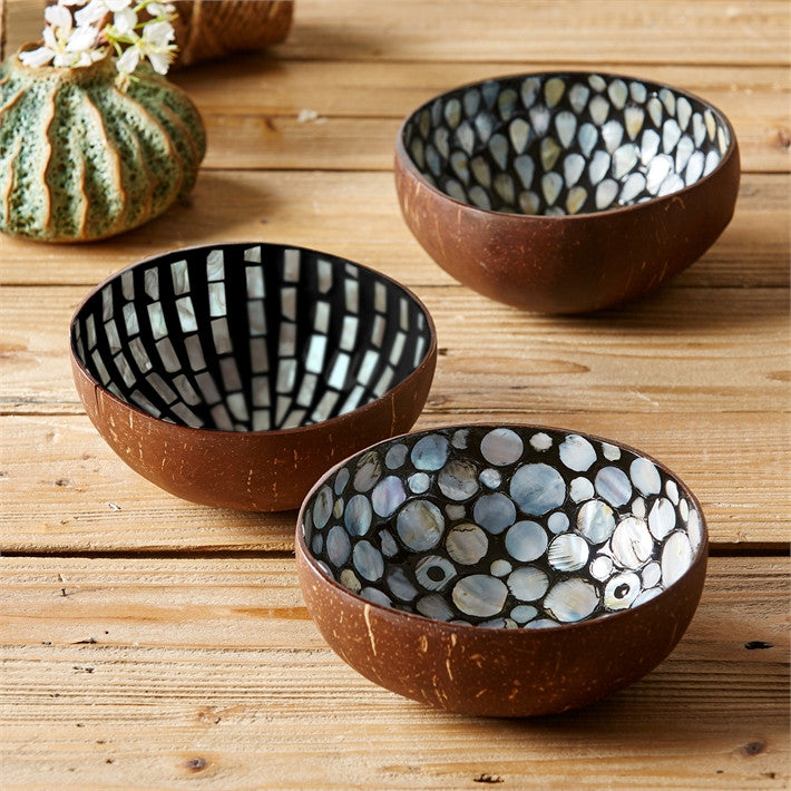 Tozai Home Pearl & Coconut Bowl Teardrop Bowls - Assorted 3 Designs - Set Of 9
