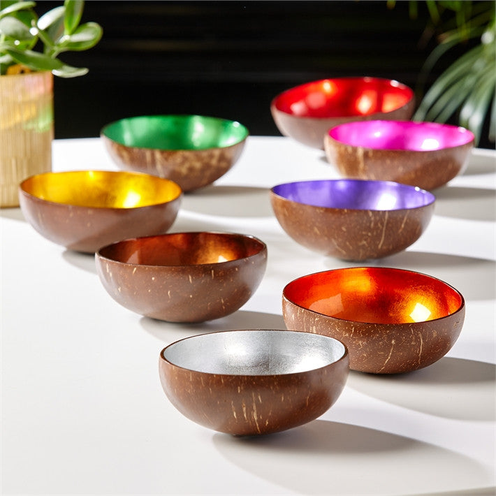 Tozai Home Shimmering Foil Lacquered Coconut Bowl - Set Of 16