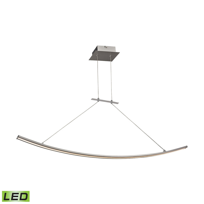 Bow 1-Light Island Light in Aluminum with White Polycarbonate Diffuser - Integrated LED ELK Lighting