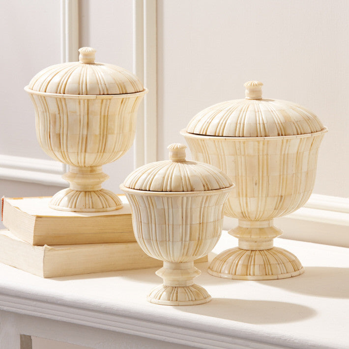 Tozai Home S/3 Bone Marquetry Pedestal Covered Boxes