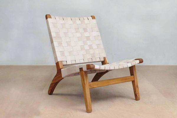 Masaya Leather Woven Lounge Chair- Natural Color Leather & Teak Wood
