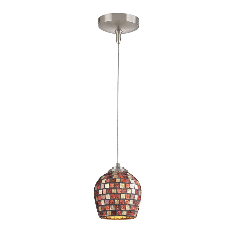 Low Voltage MR16 Collection 1-Light Mini Pendant in Brushed Nickel with Multi Fusion (MLT) Glass ELK Lighting