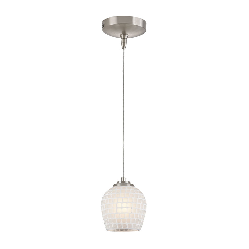 Low Voltage MR16 Collection 1-Light Mini Pendant in Brushed Nickel with White (WHT) Glass ELK Lighting