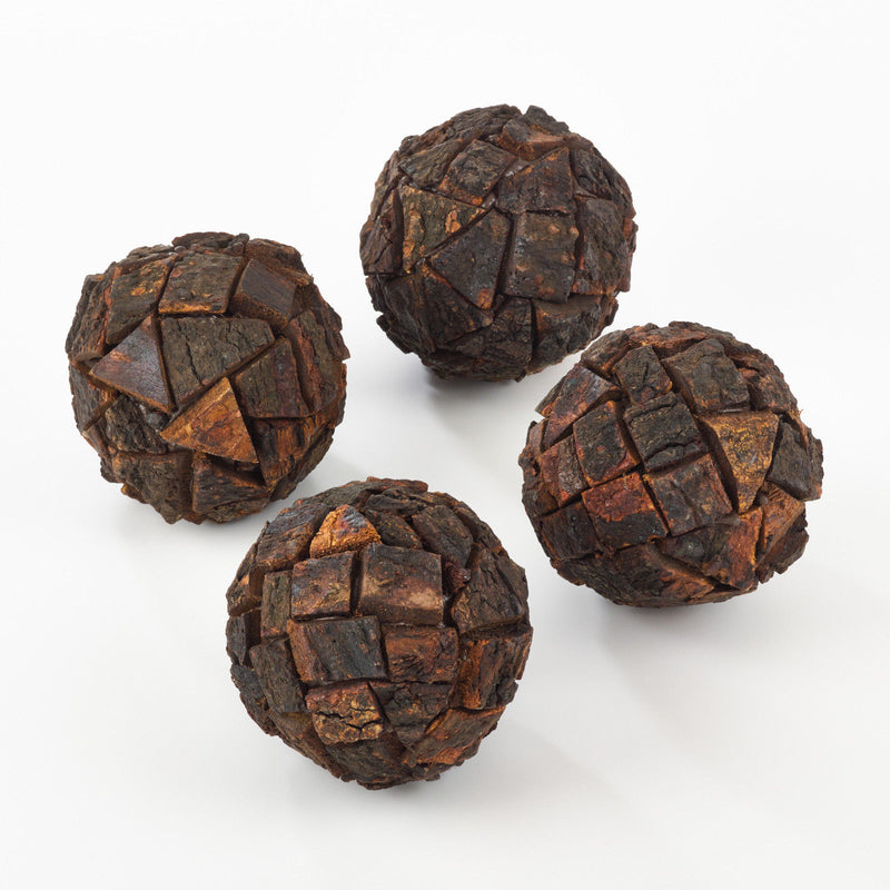 Saro Wooden Bark Design Spheres - Set Of 4