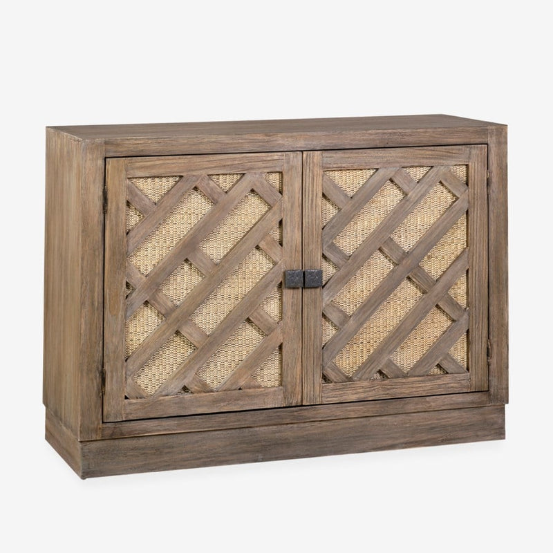 Gladys Cane Inset Mindi Veneer/ Rattan 2 Door Cabinet, Light Brown by Jeffan