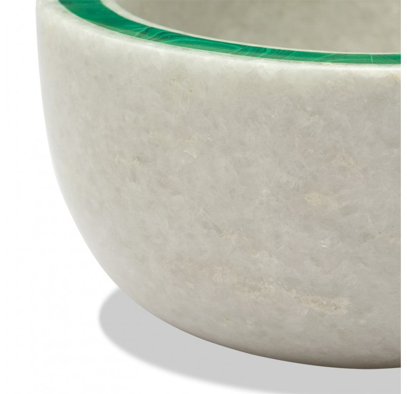 Bowl, Marble w/ Malachite Inlay/Lapis Inlay  by Gold Leaf Design Group