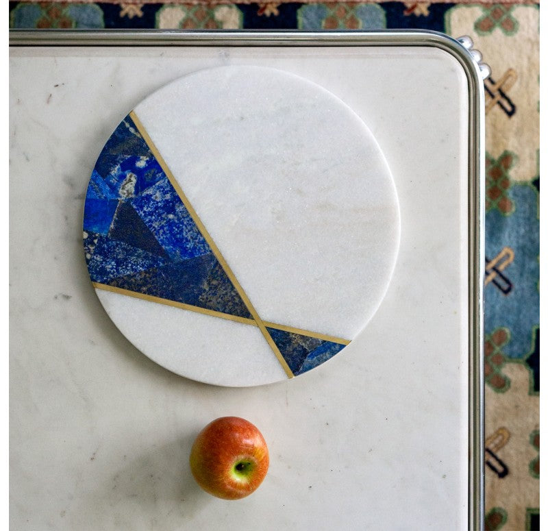 Marble Platter w/ Lapis & Brass by Gold Leaf Design Group