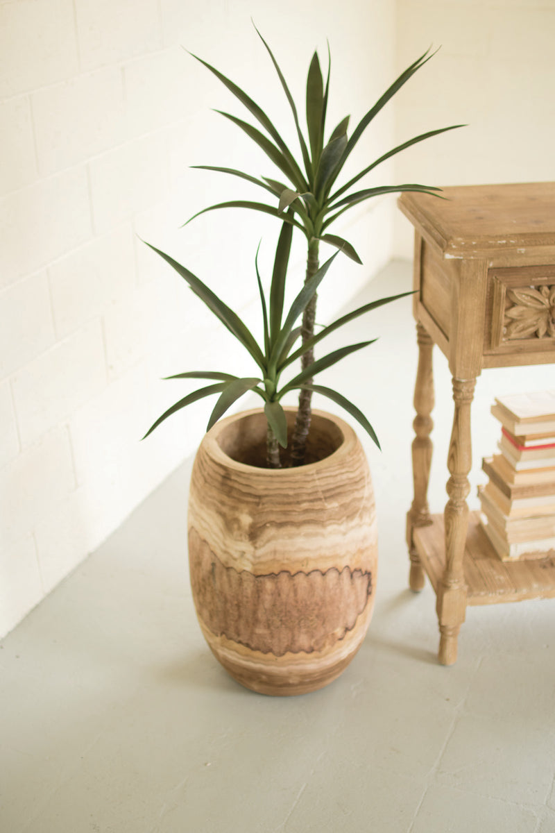 "Kalalou Giant Hand Carved Wooden Planter - 22""T"