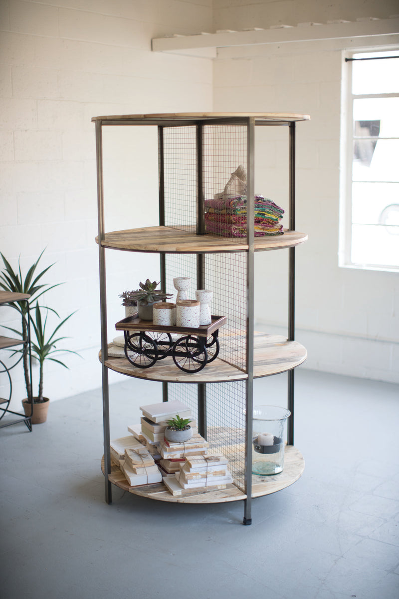 Kalalou Recycled Wood And Metal Demi Lune Shelving Unit
