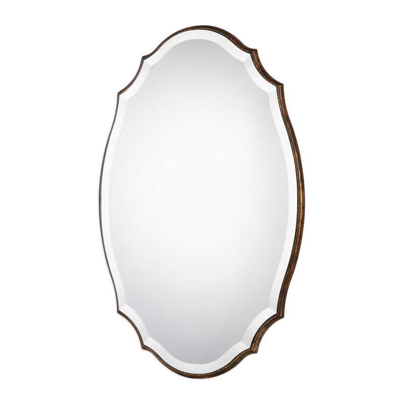 Round Edged Wood Frame Shaped Bevel Mirror By Modish Store