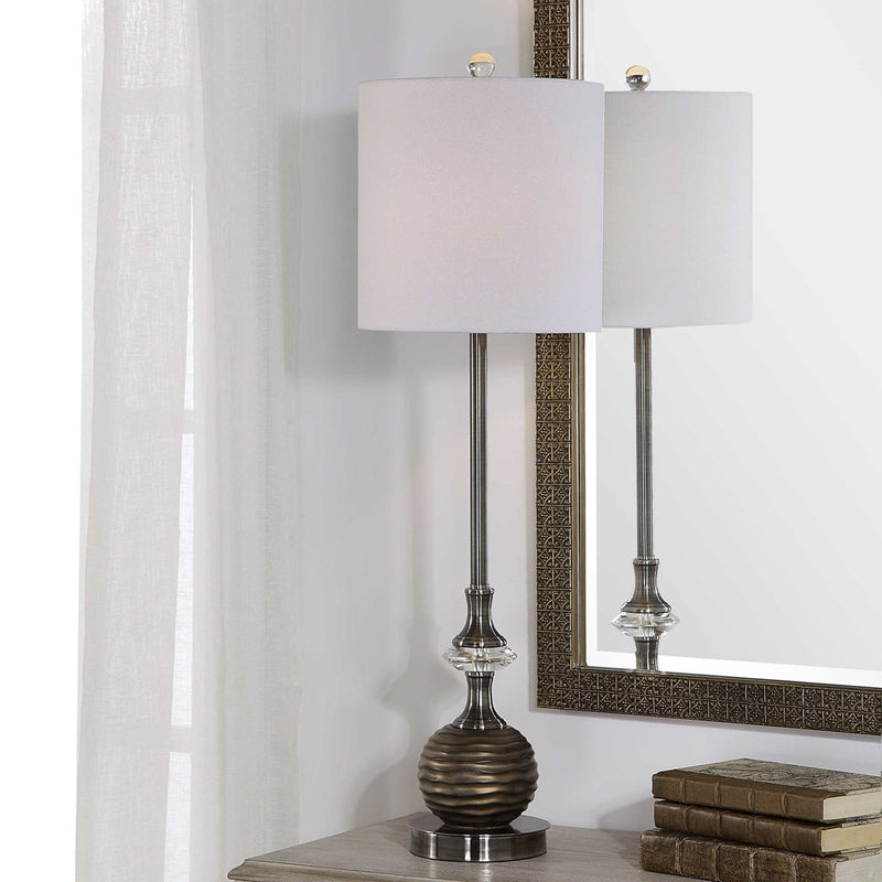 Brushed Nickel and Crystal Table Lamps by Modish Store