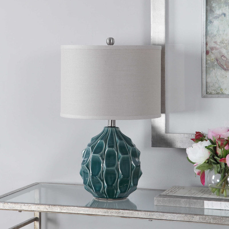 Olive Scalloped Ceramic Gray Table Lamps by Modish Store