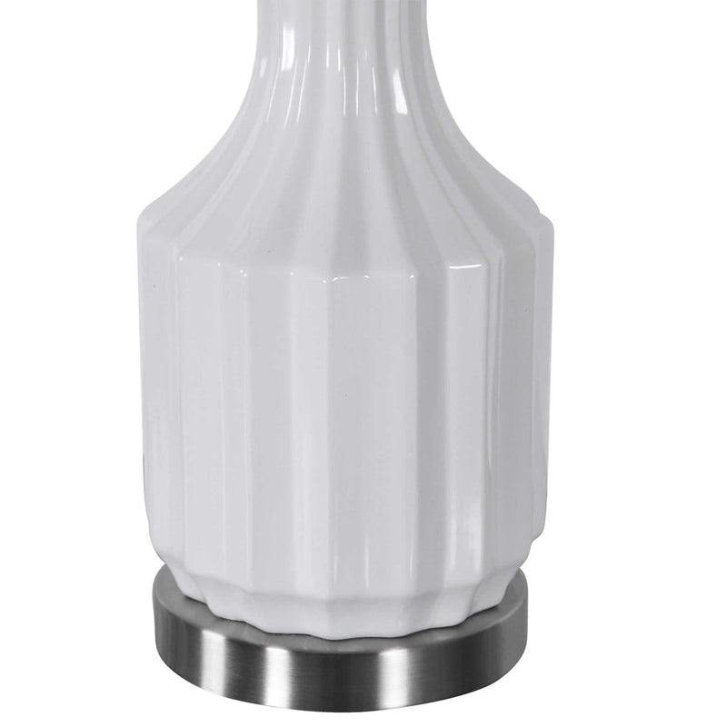 High Gloss white with Brushed Nickel Table Lamp By Modish Store