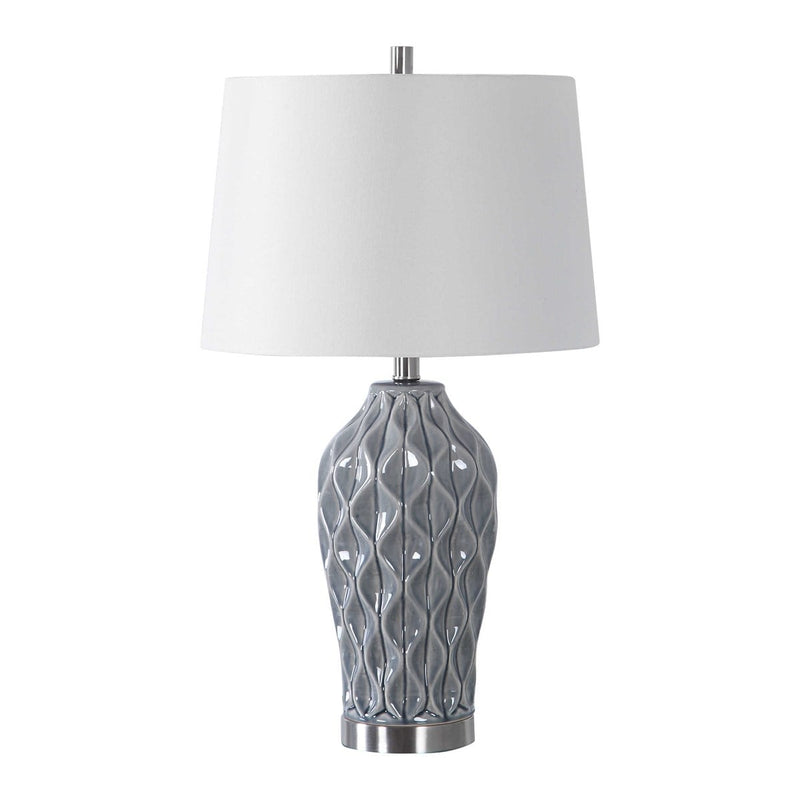 Scalloped Ceramic Bluish Gray Finish Table Lamp By Modish Store