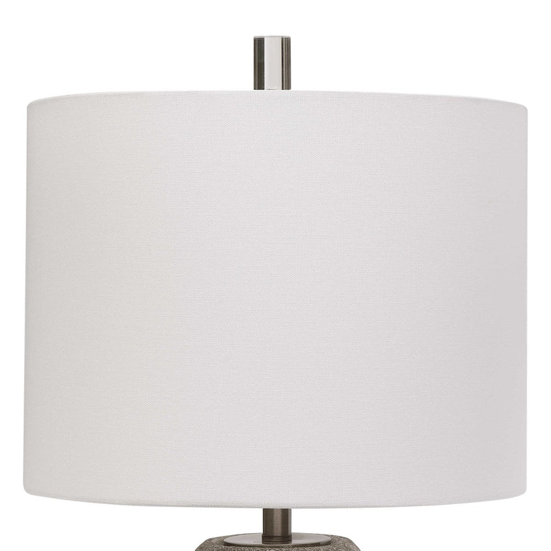 Ceramic Lamp Textured Metallic Stone Gray with Silver Table Lamps by Modish Store