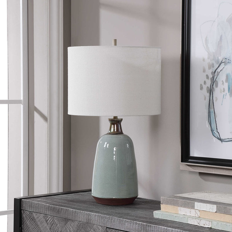 Light Turquoise Crackle Glazed Ceramic Table Lamp By Modish Store