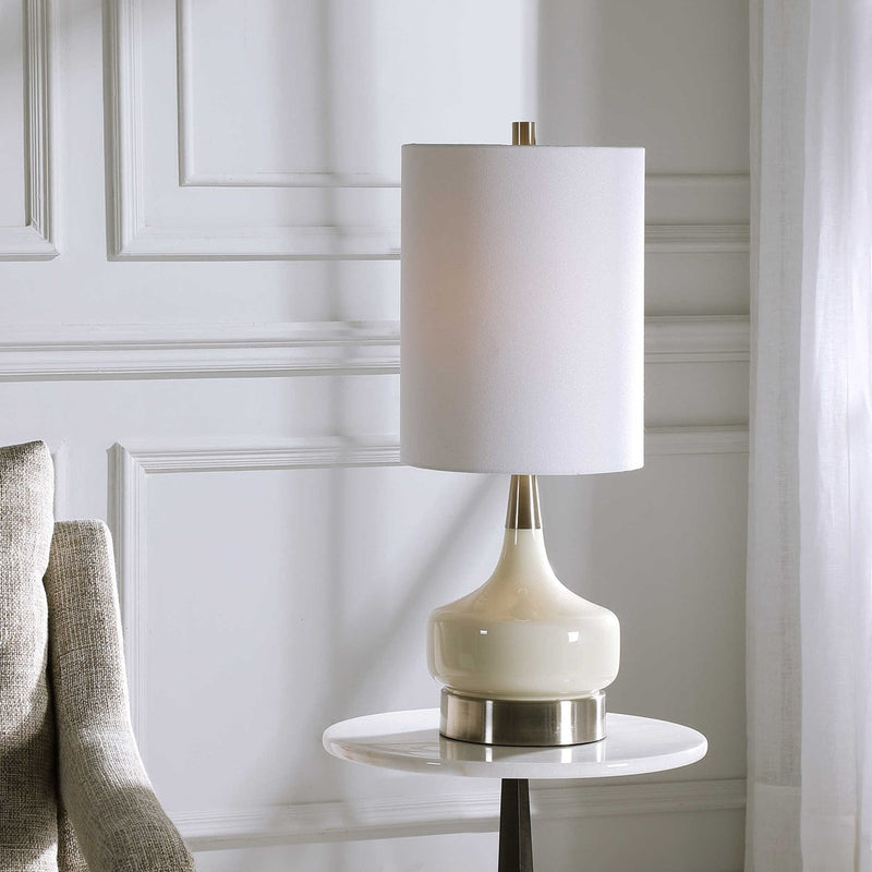 White Glass Table Lamp by Modish Store