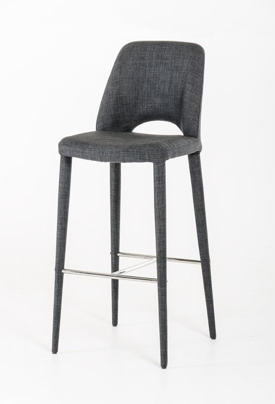 Vig Furniture Modrest Williamette Modern Dark Grey Fabric Bar Stool