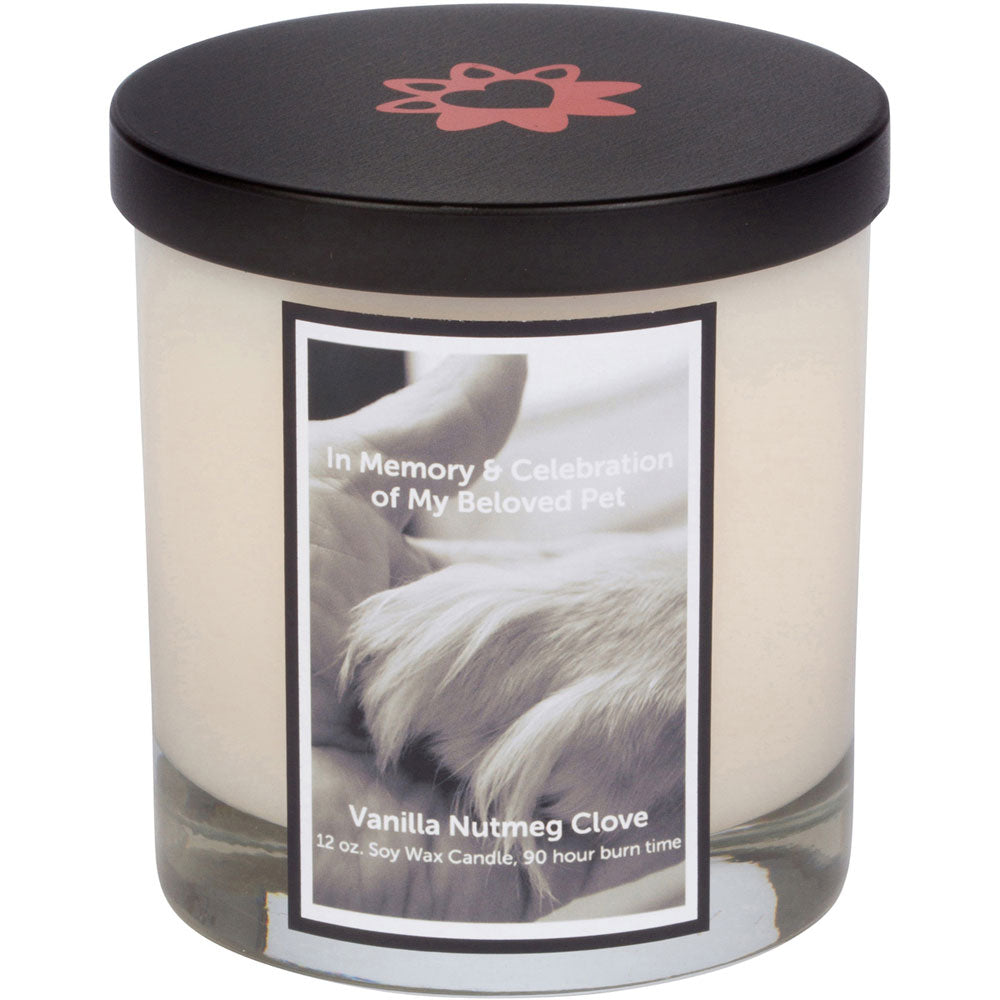 Paw in Hand Black Memorial Candle with Lid