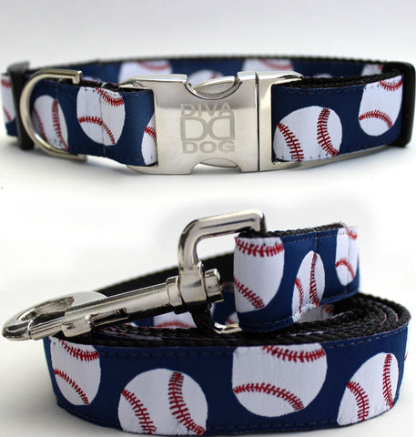Baseball Dog Collar and Leash Set by Diva-Dog