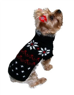Black Fair Isle Snowflake Sweater by Dallas Dogs