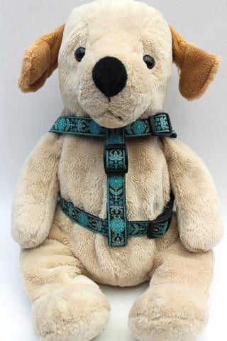Boho Peacock Step-In Dog Harness by Diva-Dog