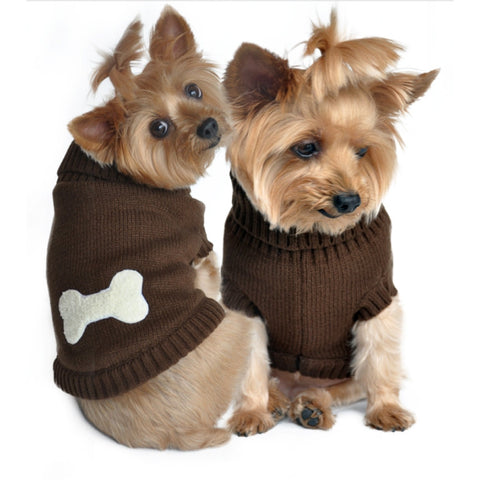 Brown Bone Dog Sweater