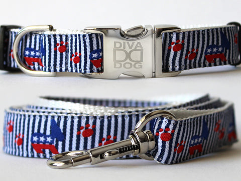 Democratic Doggie Collar and Leash Set by Diva-Dog